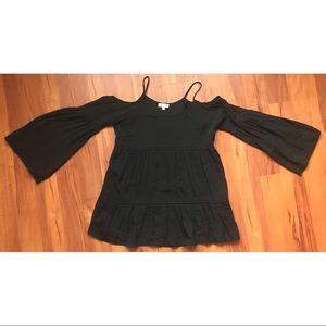 umgee black large  bell sleeve shoulderless top
